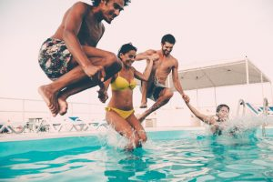 Enjoying pool party with friends