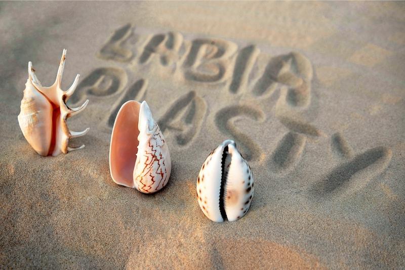 words labiaplasty drawn in sand near shells
